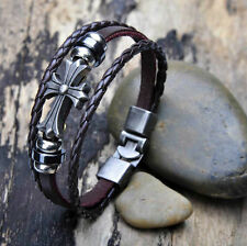 G12 Celtic Metal Studded Surfer Leather Bracelet Wristband Cuff Men's 6 Style