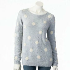 LC LAUREN CONRAD DOT FUZZY SWEATER in LIGHT BLUE SIZE X-S,M;NWT