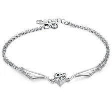 Anklet Ankle Bracelet Angel Wings and 1.5 Carats Heart Cubic Zirconia Crystal