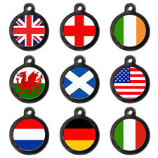 Cute Flag Personalised Pet Dog Cat Name ID Tag Pet Tags - Engraved FREE