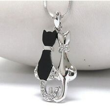 NEW CRYSTAL BLACK & SILVER TWO KITTY CATS PENDANT NECKLACE WHITE GOLD PLATED