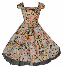 Womens 40's 50's Vintage Style Peach & Cream Flared Party Prom Dress BNWT 8 - 18