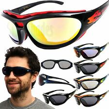 Chopper Wind Resistant Sunglasses Motorcycle Riding Glasses with Flame Detail