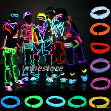 Flexible EL Wire Neon Light 1M/2M/3M/5M Dance Xmas Party Car Decor +Controller