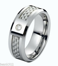 Diamond Tungsten Carbide Wedding Band Ring 8mm Modern Men's Solitaire 0.05ct