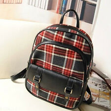 Red Checkers Plaids Canvas School Bags Vintage Chic England Style Backpacks