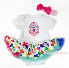 Easter Egg White Bodysuit Rainbow Clover Pettiskirt Girl Baby Dress NB-18Month