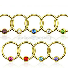 """PAIR 16g~3/8"""" 14K Gold Plated 316L Surgical Steel Captive Bead Ring with CZ Gem"""