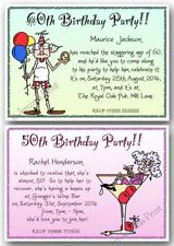 40th / 50th / 60th / 70th / 80th personalised funny Birthday Party Invitations