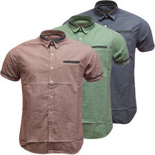 Mens Shirts Brave Soul Chambray Trim Blue Red or Green S M L XL