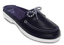 New Crocs Above Deck Leather Boat Mule Shoes Navy Blue Womens SZ 6 7 8 9