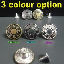 """10 sets 5/8""""(17mm)Star shape No Sew Hammer On Replacement Jean Tack Metal Button"""