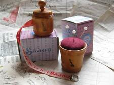 Sajou French vintage style wooden Tape measure/ Pin Cushion- Red