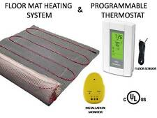 90 Sqft, MAT ELECTRIC RADIANT WARM  FLOOR TILE HEAT SYSTEM + THERMOSTAT, 120V