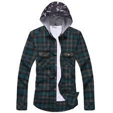 Mens Button Plaid Shirt Long Sleeve Flannel Plaid Casual Shirt Hooded Hoodies
