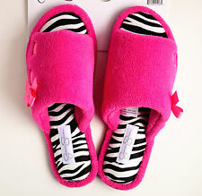 Jessica Simpson Women Microterry Cute Open-toe Slippers Pink/Zebra Size S M L XL