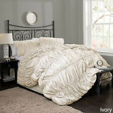 BEAUTIFUL SOFT CHIC MODERN ELEGANT GREY IVORY WHITE RUFFLE TEXTURE COMFORTER SET