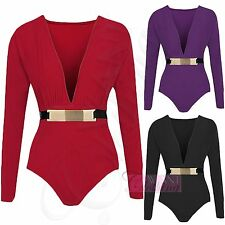 NEW WOMENS PLUNGE NECK GOLD BELTED BODYSUIT LONG SLEEVE BUCKLE LEOTARD TOPS 8-14
