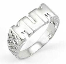 STERLING SILVER CUBIC ZIRCONIA CZ POLISHED SCROLL MUM MOTHERS DAY RING GIFT BOX