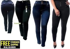 1826 BLUE/ BLACK denim jeans HIGH WAIST WOMENS PLUS SIZE pants SKINNY LEG PL-882
