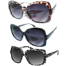 Ladies Oversized Animal Print Sunglasses Black Brown Retro Tortoise Shell UV400