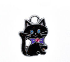 Wholesale HOT! Jewelry Silver Tone Enamel Cat Charm Pendants 19x14mm