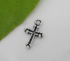 Wholesale DIY Jewelry Silver Tone Cross Charm Pendants 15x9mm