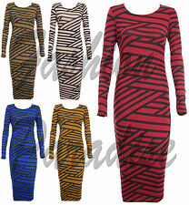 WOMENS LADIES LONG SLEEVE KNITTED WARM STRIPED STRETCH BODYCON LONG MIDI DRESS