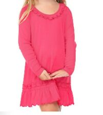 100% Cotton Dress Infant Toddler Girls Blanks Long Sleeve Ruffle Neck 12M to 6T