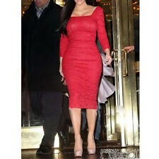 Red Celebrity Elegant Lady Crochet Lace Knee-length Prom Evening Pencil Dress
