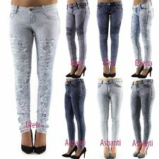 Womens Stretch Faded Slim Fit Acid Wash Sexy Tube Skinny Jeans