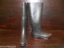 New Womens UGG Wilshire Logo Tall Black Rain Winter Boots Rubber All Sizes