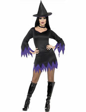Adult Ladies Witch Witches Sorceress Purple Halloween Fancy Dress Costume
