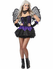 Ladies Evil Fairy w/ Wings Sexy Pixie Halloween Party Fancy Dress Costume