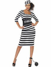 Ladies Sexy Prisoner Convict Jailbird Hen Party Fancy Dress Costume