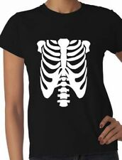 Skeleton Fancy Dress Halloween Ladies T-Shirt Gift Size S-XXL