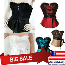 Black Lace Satin Costume Overbust Vintage Corset Bustiers Waist Ribbon Lace Up