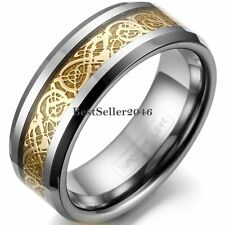 8mm Tungsten Carbide Ring Gold Tone Celtic Dragon Inlay Men's Comfort Fit Band