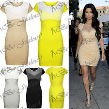 Ladies Celeb Inspired Mesh Insert Kim Kardashian Padded Bra Womens Bodycon Dress
