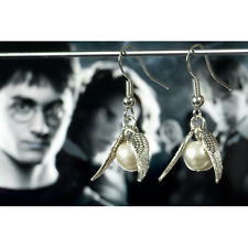 Harry Potter Hogwarts Quidditch Antique Silver Wings Earrings--925 Silver Hook