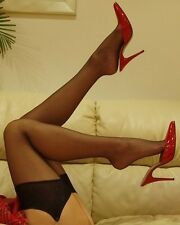 XL Sheer Nylon Stockings in Black White Nude & Red Colours - Sexy Lingerie P1001