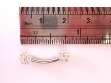 Clear Crystal Ball VCH Vertical Clit Hood Curved Barbell Ring 14 gauge 14g