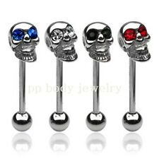 """1pc. 14G~5/8"""" 316L Surgical Steel Skull Tongue Ring Barbell w/ C.Z. Gemmed Eyes"""