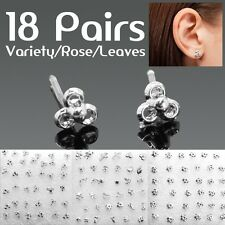 18 Pairs Fashion Hot Cute Sweet Lovely Variety Rose Leaves Silver Earring Stud