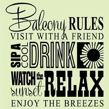 BALCONY RULES COOL DRINK RELAX Wall Decal Wall Sticker Home Life Wall Art Decal