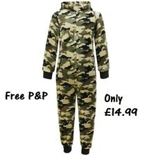 Boys Girls Kids Camouflage Onesie All in One Pyjamas Army Age 7 8 9 10 11 12 13