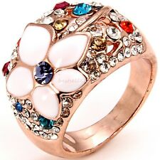 Fashionable Graceful Ladies Vintage Blossom Flower Ring Engagement Wedding Band