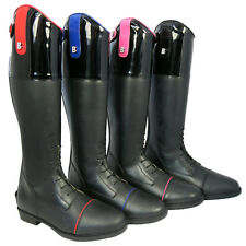 Brogini Diamante Kids Girls Leather Showing Horse Long Riding Boots Size UK 11-6