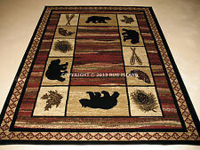 Lodge Cabin Rustic Bear Pine Fish Area Rug **FREE SHIPPING**