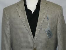 Men's ADOLFO Sport Coat Blazer Silk and Wool Hounds Tooth V33810 Tan Jacket NEW